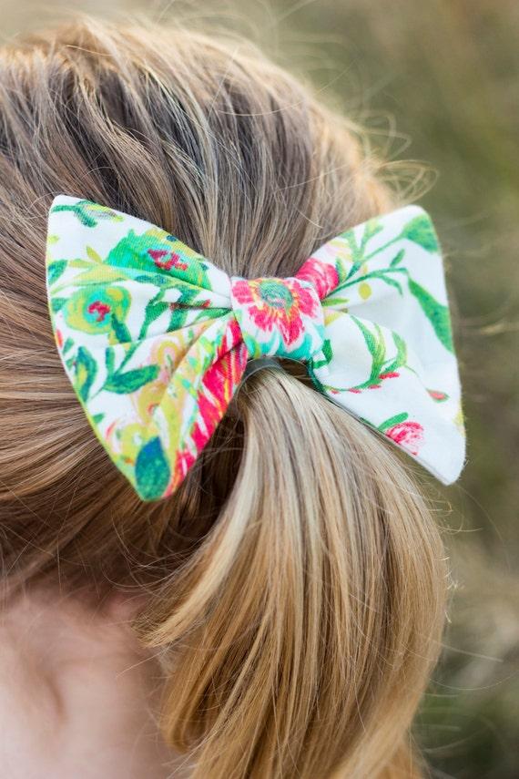 Floral Hair Bow Clip Floral Baby Hair Bow Clip Green Floral Toddler Hair Bow Clip Pink Floral Hair Clip Bow Floral Hair Bow Clip Wild Flower