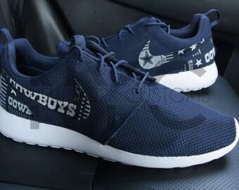 Dallas Cowboys Version 2 Nike Roshe One Run Navy Blue Custom Men Women & Kids