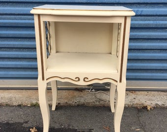 Unique small french nightstand or end table