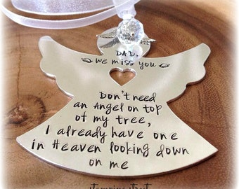 Angel, Personalised Ornament, Remembrance, Angel Christmas Decoration, Memorial Gift, Memorial Angel, Christmas Angel, Christmas Tree Angel