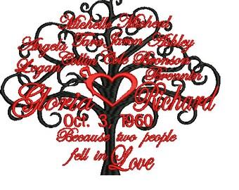 family tree machine embroidery design