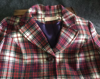 Vintage Pendleton plaid blazer women's