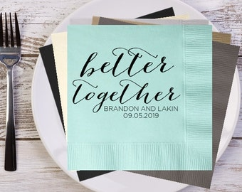 better together Rustic Names and Date Personalized Wedding Napkins, Custom Napkins, Bridal Shower Napkins, Wedding Reception Napkins