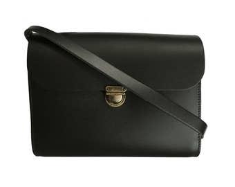 Black Leather Bag - Handmade in UK - Back to School - Messenger Bag - Black Purse - Leather Crossbody Bag
