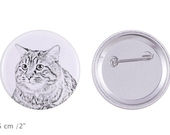 Buttons with a cat -Kurilian Bobtail longhaired