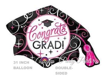 pink and black graduation cap balloon, Congrats Grad party decorations, 2018 graduates, Class of 2018, gift ideas, balloons, party decor