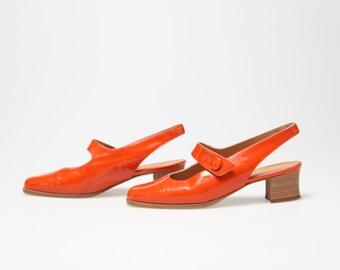 60's  sabot // orange patent leather shoes vintage // italian size 37 - uk 4 usa 7