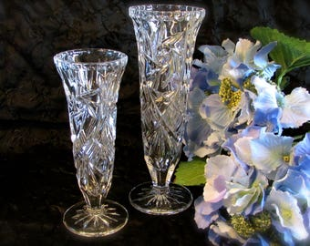 Two Heavy Crystal Bud Vases, Star and Swirl Design Footed Vases