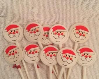 Vintage Santa Claus Christmas Picks Set of 10