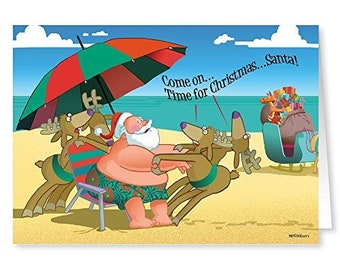 Funny Beach Christmas Card - Time for Christmas - 18 Cards/ 19 Envelopes - 30055a