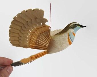 Wooden Bird Bluethroat Wood Carving, Woodland Song Bird Decor, Flying Bird Mobile Folk Craft Woodwork, Fan Bird Hanging Anniversary Gift