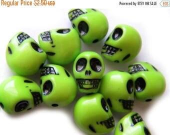 HALF PRICE 10 Green Skull Beads