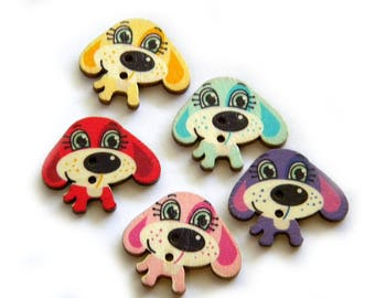 10 Wooden Dog Buttons