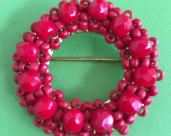 Hobe Red Beaded Circle/Wreath Brooch - Signed - Vintage Circle Pin - Festive/Holiday/Beads