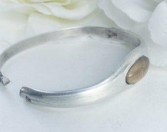 Sterling Silver Bracelet, Cat's Eye Bracelet, Cuff Bracelet ,Tiger's  Eye , Sterling Cuff, Hinged Sterling Silver Vintage Bracelet