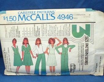 Vintage McCalls Misses Wardrobe Pattern 4946 1976 Size 12-14-16