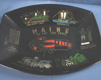Vintage Maine Souvenir Plastic Tray