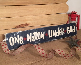 One nation under God sign. Patriotic signs. Patriotic decor. Fourth of July decorations. July 4th decor. Rustic signs. Americana decor