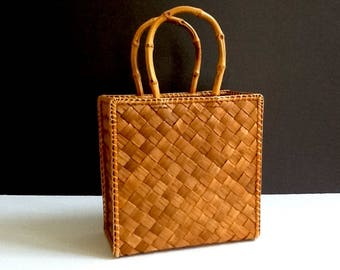 Woven Rattan Tote with Bamboo Handles, Lois Hill Tote