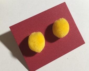 Yellow Stud Pom Poms Earrings