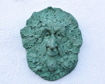 Lucky Acorn, Celtic Green Man, Stone Wall Decor, Made in Cornwall, Cornwall Stoneware, Garden Decoration, Home and Garden, Gift Idea