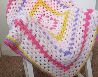 Handmade Crochet Baby Blanket,79 x 79cm/31 x 31 inches in shades of Pink, Yellow, lilac and White fleck, Stroller/Pram Blanket, Baby Girl