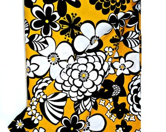 Sold By the Yard | Alexander Henry Fabrics Satchi| Mustard Yellow White Black Floral Print
