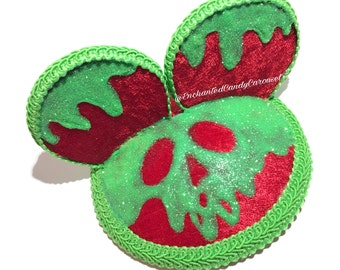Red Velvet Poison Apple Mouse Ears Fascinator an Enchanted Candy Original Creation