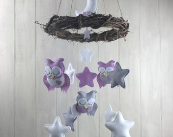Baby mobile - nest mobile - owl mobile - star mobile - moon mobile - owl nursery decor