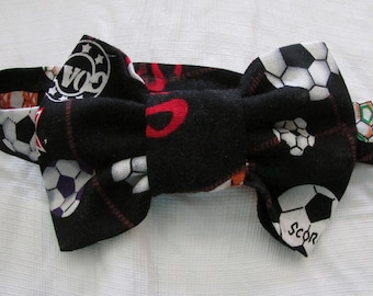 Black With Red And White Boys Bowtie, Boy's  Soccer Bowtie