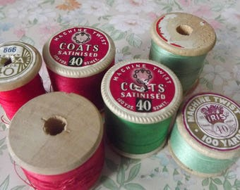 Vintage cotton threads reels red green job lot sewing notions x6