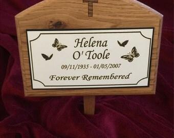Large Wooden Memorial Cross Design Solid Oak Grave Marker & Personalised Plaque