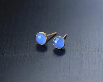 Blue Chalcedony Earrings, Chalcedony stud, Vermeil gold platted earrings, Chalcedony Earrings, Chalcedony bezel earring