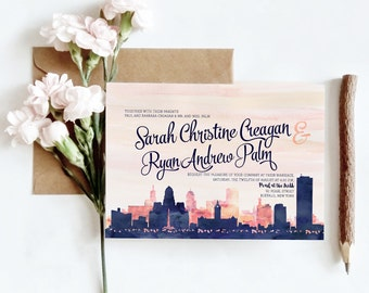 Anchorage, AL Watercolor Skyline Wedding Invitations | 4 Piece Invitation Stationery Suite | CUSTOMIZED to Match Your Wedding