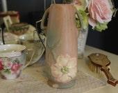 Weller White Rose Vase, Weller Wild Rose Vase, Roseville Style Vase, Dogwood Pottery Vase, Weller Pottery Vase, Double Handled Weller Vase