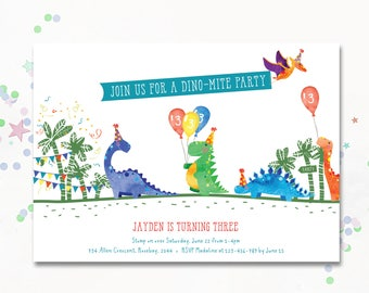 Dinosaur Party Invite, Dinosaur invitation, Dinosaur printable invitation, Cute dinosaur, First birthday, Second, Third birthday Invite