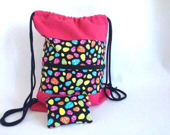 DrawString bag, backpack, backpack, backpack with Pocket, backpack purse, pink backpack, fabric skulls, skulls, skull backpack