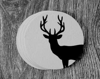 Deer Silhouette - Letterpress Hand Printed Round Coaster - Set of 10 Coasters