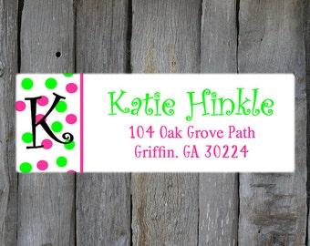 Pink & Green Polka Dot Return Address Labels -  Polka Dot Return Address Label - Customized Return Address Labels