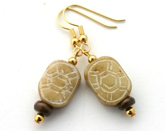 Yellow tribal earrings, gift for her, jade