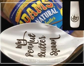 Custom Spoon, Engraved Spoon, Peanut Butter, Spoon, Personalized Spoon