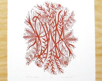 "Woodcut Print - ""Autumn Prairie"" - Maroon Red Native Flowers - Wall Art"