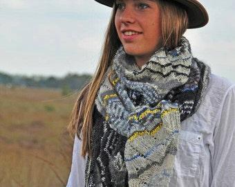 hand knitted scarf, triangular scarf