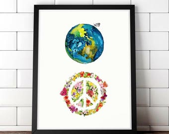 World Peace Instant Art, Watercolor Map Art, Printable Wall Art, Instant Download, Instant Art, Downloadable Art, Map Art, Nursery Art Prin