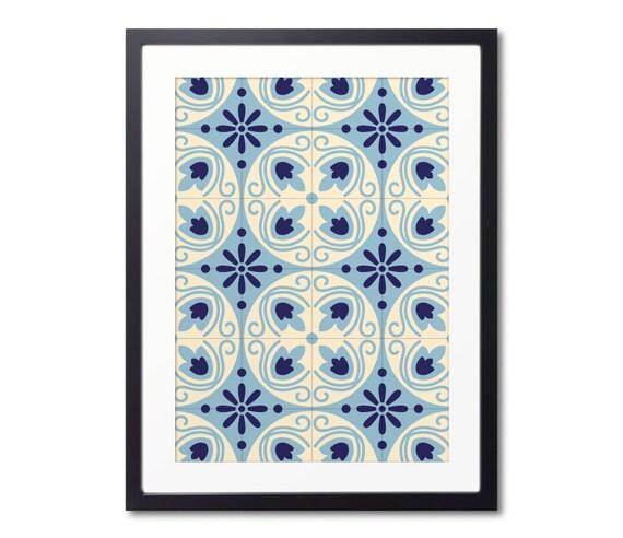 Blue Graphic Print, Ceramic Tile Prints, Spanish Tile Art, Modernist Print, Geometric Wall Art Print With Frame