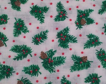 Evergreen Branches with Cones and Berries Fabric 37 x 44