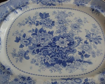 MAGNIFICENT Antique Clews Staffordshire Extra Large 20 x 16-1/2 inch Light Blue and White Transferware Platter!