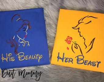 His Beauty Her Beast | Beauty and the Beast Shirts | Embroidered | Disney Vacation | Disney Engagement | Disney Marathon | Disney Wedding