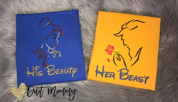 His Beauty Her Beast | Beauty and the Beast Shirts | Embroidered | Disney Vacation | Disney Engagement | Disney Marathon | Disney Wedding