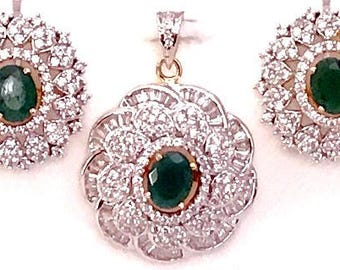 Pa p144  Beautiful Pendant Earring Set Studded with Stones !Shipping free